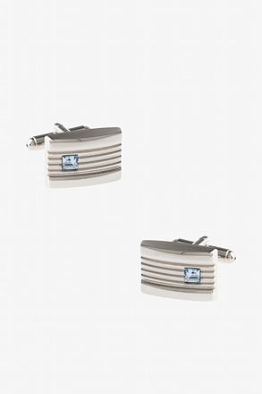Engraved Rhinestone Plate Light Blue Cufflinks
