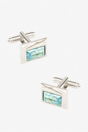 _Framed Tile Light Blue Cufflinks_