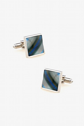 _Iridescent Square Light Blue Cufflinks_
