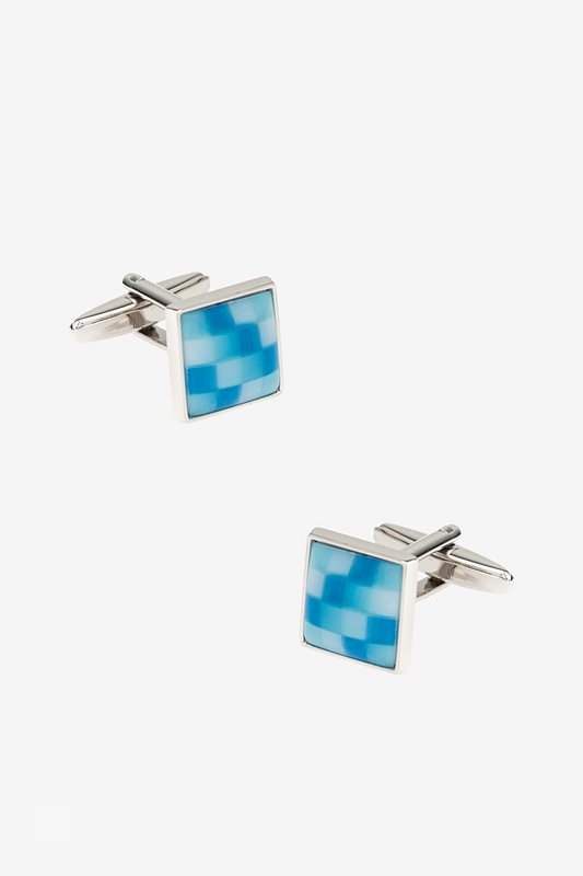 Mini Square Color Scheme Light Blue Cufflinks Photo (0)