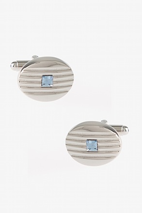 Oval Etched Jewel Cufflinks