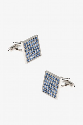 Rhinestone Columns Light Blue Cufflinks