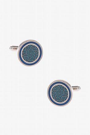 Round Starry Pattern Light Blue Cufflinks