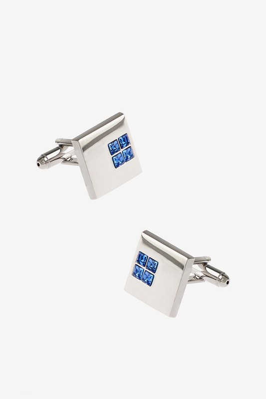 Solid Studded Square Light Blue Cufflinks Photo (0)