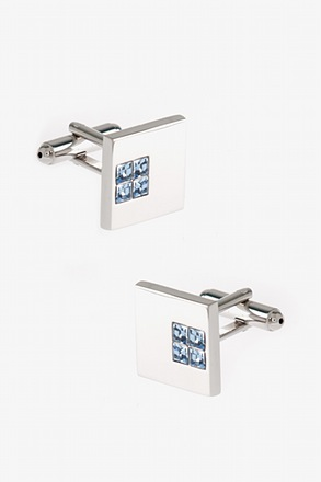 Solid Studded Square Light Blue Cufflinks