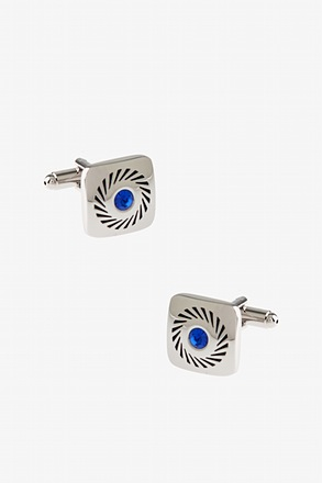 Square Rhinestone Wheel Light Blue Cufflinks