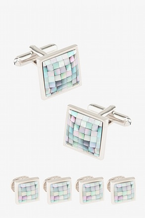 _Square Tile Light Blue Cufflink & Stud Set_