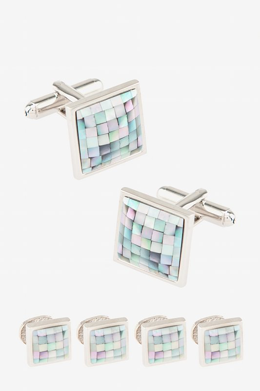 Square Tile Light Blue Cufflink & Stud Set Photo (0)