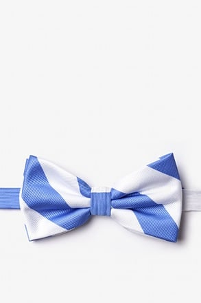 _Carolina Blue & White Stripe Pre-Tied Bow Tie_