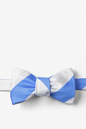 Carolina Blue & White Stripe Light Blue Self-Tie Bow Tie