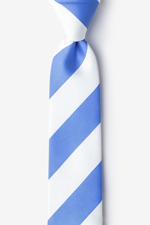 _Carolina Blue & White Stripe Skinny Tie_
