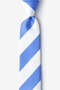 Light Blue Microfiber Carolina Blue & White Stripe Skinny Tie