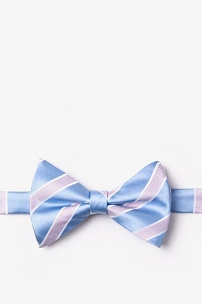 Jefferson Stripe Light Blue Pre-Tied Bow Tie