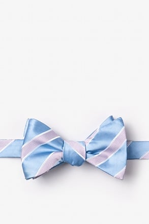 Jefferson Stripe Light Blue Self-Tie Bow Tie