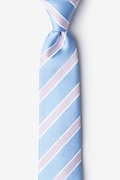 Light Blue Microfiber Jefferson Stripe Skinny Tie