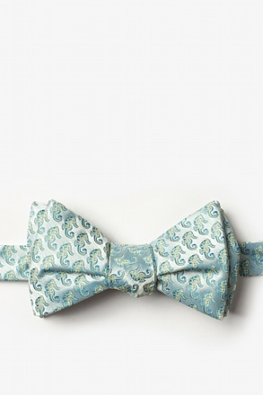 _Seahorses Light Blue Self-Tie Bow Tie_