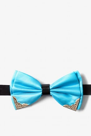 Metal-Tipped Light Blue Pre-Tied Bow Tie