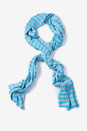 Light Blue Polyester Traveling Stripe Scarf
