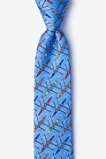 Light Blue Silk Crew Tie Skinny Tie