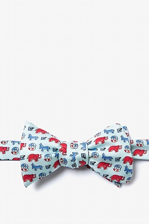 Get Out the Vote Light Blue Self-Tie Bow Tie