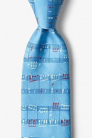Notable Notes Light Blue Tie