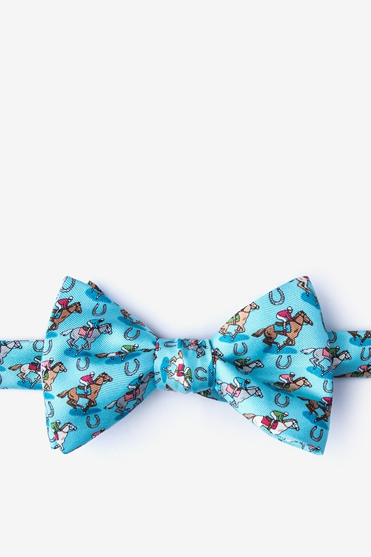 Pony Up Light Blue Self-Tie Bow Tie Photo (0)