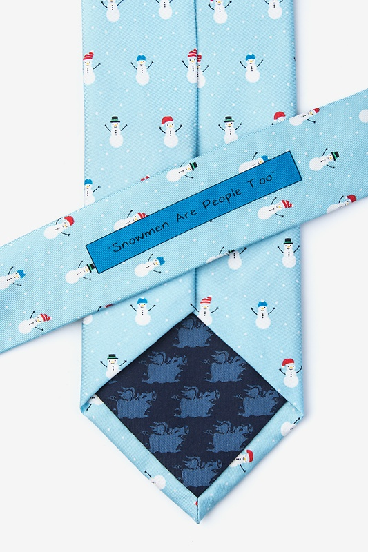 Snowmen in the Snow Light Blue Tie Photo (2)