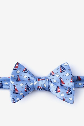Starboard & Stripes Light Blue Self-Tie Bow Tie