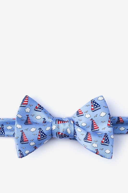 Starboard & Stripes Light Blue Self-Tie Bow Tie Photo (0)
