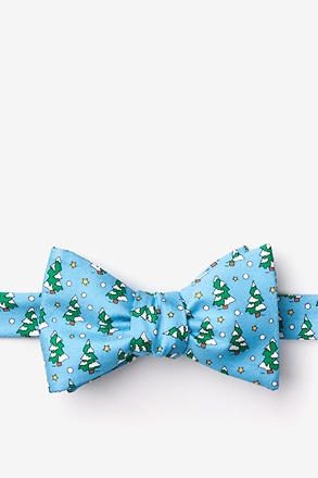 Tree-mendous Light Blue Self-Tie Bow Tie