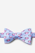Light Blue Silk When Pigs Fly Butterfly Bow Tie