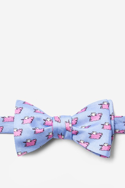 When Pigs Fly Light Blue Self-Tie Bow Tie