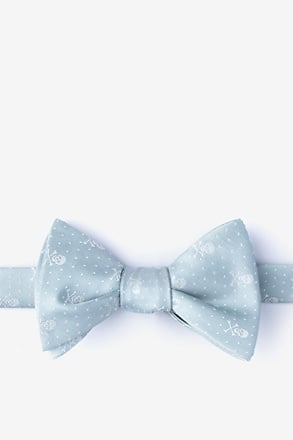 Skull and Polka Dot Light Gray Self-Tie Bow Tie