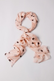 Light Pink Viscose Velvet Crowns Scarf