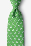 Lime Green Microfiber Recycling Symbol Tie