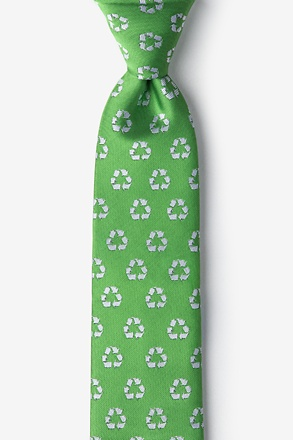_Recycling Symbol Lime Green Tie For Boys_