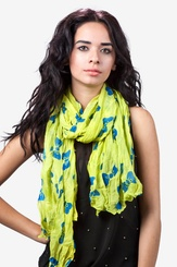 Lime Green Polyester Bow Tied Scarf
