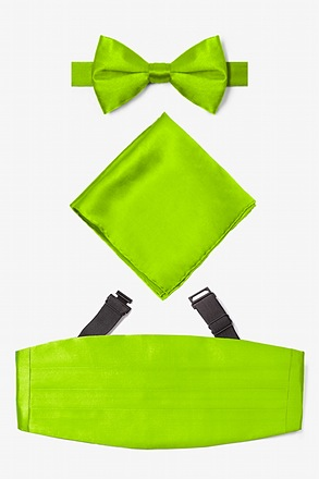 _Lime Green Pretied Bow Tie Cummerbund Set_