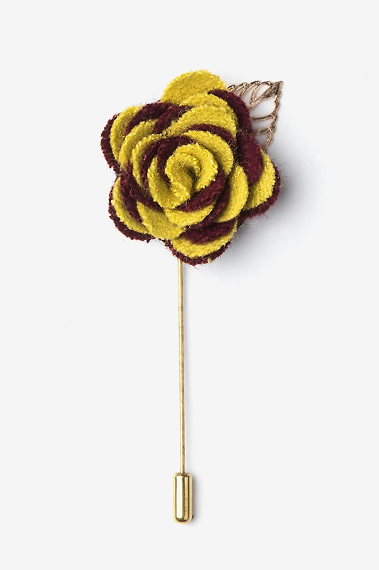 Marigold velvet two toned flower gold leaf lapel pin ties two toned flower gold leaf lapel pin mightylinksfo