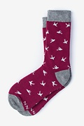 Flying Bird Maroon Women's Sock