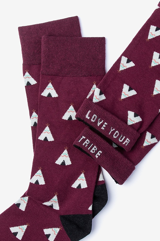 Love Your Tribe Maroon Sock Photo (3)
