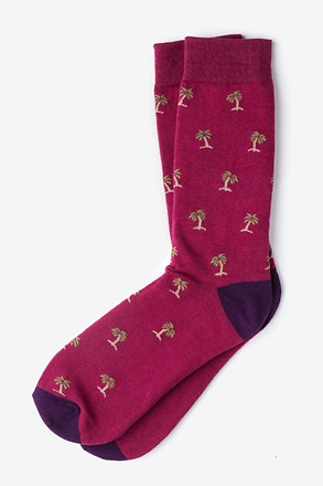Palm Trees Maroon Sock