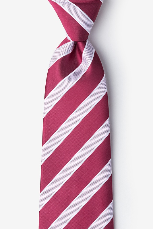 Jefferson Stripe Maroon Extra Long Tie Photo (0)