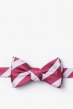 Jefferson Stripe Maroon Self-Tie Bow Tie