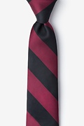 Maroon Microfiber Maroon & Black Stripe Tie For Boys
