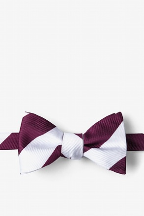Maroon & White Stripe Self-Tie Bow Tie