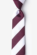 Maroon & White Stripe Skinny Tie Photo (0)