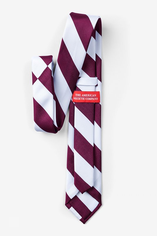 Maroon & White Stripe Tie For Boys Photo (1)