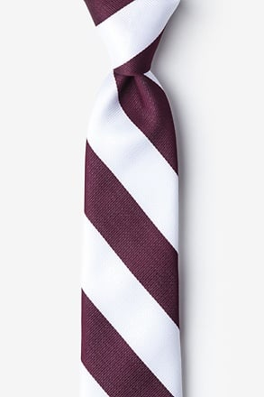 Maroon & White Stripe Tie For Boys