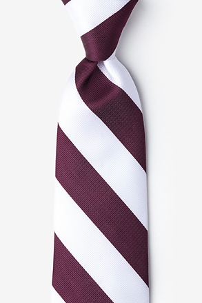 Maroon & White Stripe Extra Long Tie